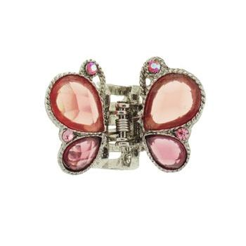 Karen Marie - Mini Butterfly Jaw Clip - Orange/Rose (1)