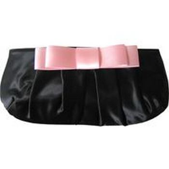Amici Accessories - Black Brianna - Rounched Satin Clutch