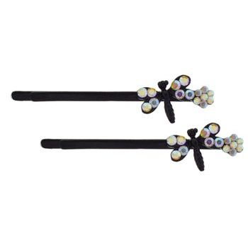 Karen Marie - Crystal Daisy & Dragonfly Bobby Pins - White AB/Black (Set of 2)