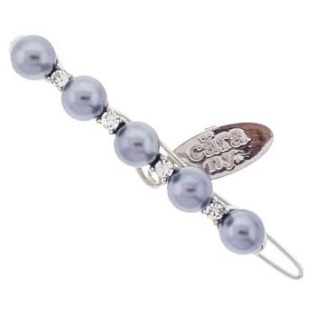 Cara - Pearl & Crystal Straight Line Clip - Grey Pearl (1)