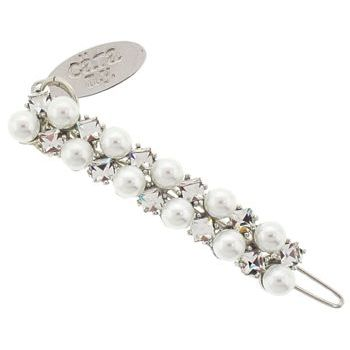 Cara - Pearl & Princess Cut Crystal Double Line Clip - White Pearl & White Diamond (1)