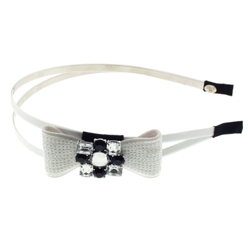 Cara - Sequin Bow Double Arch Headband - White (1)