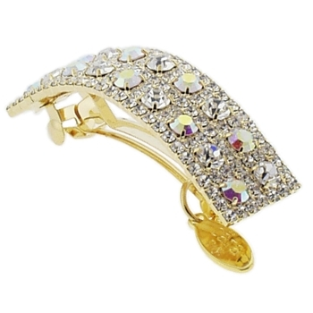 Cara - Assorted Rhinestones Barrette - Gold w/White & White AB Crystals (1)