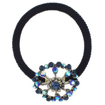 Karen Marie - Crystal Open Wheel Ponytail Holder - Violet Blue (1)