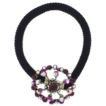 Karen Marie - Crystal Open Wheel Ponytail Holder - Ruby Red (1)