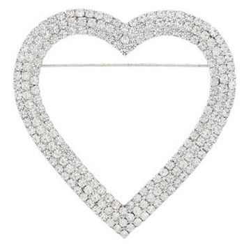 Rachel Abroms - Heart Shaped Brooch - White Diamond Swarovski Crystals (1)