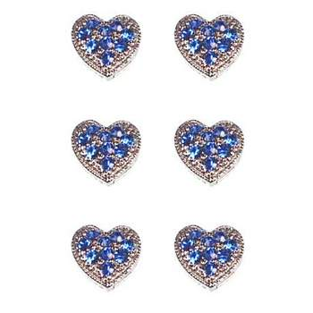 HB HairJewels - Magnetic Austrian Crystal Hearts - Blue (6)