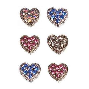 HB HairJewels - Magnetic Austrian Crystal Hearts - Mixed Colors (6)