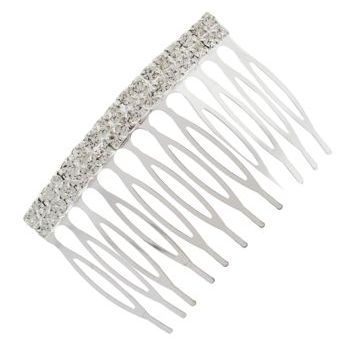 Karen Marie - Bridal Collection - Crystal Comb - Small Silver - Square Top