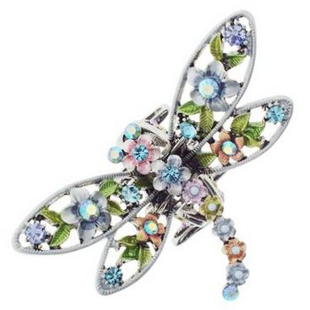 Karen Marie - Whimsical Garden - Crystal & Flower Dragonfly Claw - Light Blue (1)