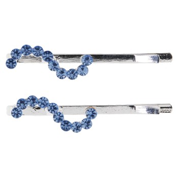 Karen Marie - Curvy Crystal S Bobby Pins - Blue/Silver (Set of 2)
