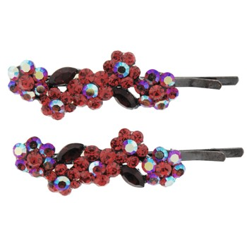 Karen Marie - Austrian Crystal Flower Hairpins - Red (2)