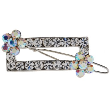 Karen Marie - Rectangle Crystal Barrette w/Flower - White w/ White AB (1)