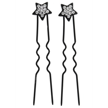 HB HairJewels - Mini Star French Hairpin - Brilliant White/Black