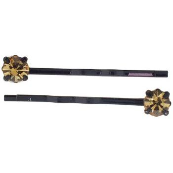 Karen Marie - Diamond Bobby Pins -  Gold Topaz (Set of 2)