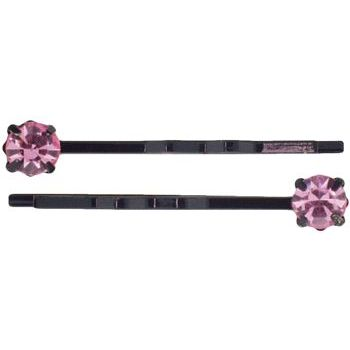 Karen Marie - Diamond Bobby Pins - Rose (Set of 2)