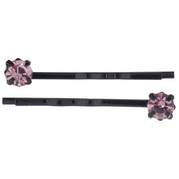 Karen Marie - Diamond Bobby Pins -  Amethyst (Set of 2)