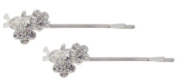 HB HairJewels - Austrian Crystal Flower Hairpins - White/Silver (Set of 2 Bobby Pins)