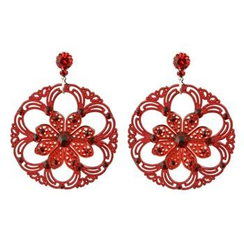 Tarina Tarantino - Lucite Disk Earrings w/Crystals - Red