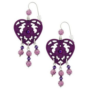 Tarina Tarantino - Frosted Lucite Heart Drop Earrings - Violet