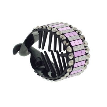 HB HairJewels - Lucy Collection - Disco Striped Pony Wrap - Grape & Pewter (1)