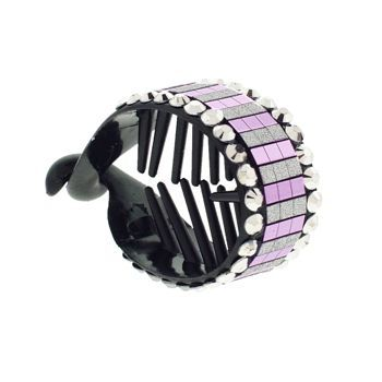 HB HairJewels - Lucy Collection - Disco Striped Pony Wrap - Grape & Silver (1)