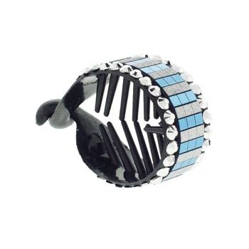 HB HairJewels - Lucy Collection - Disco Striped Pony Wrap - Blue Raspberry & Silver (1)