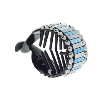 HB HairJewels - Lucy Collection - Disco Striped Pony Wrap - Blue Raspberry & Pewter (1)