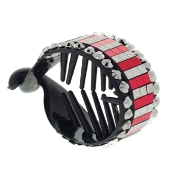 HB HairJewels - Lucy Collection - Disco Striped Pony Wrap - Peppermint & Pewter (1)