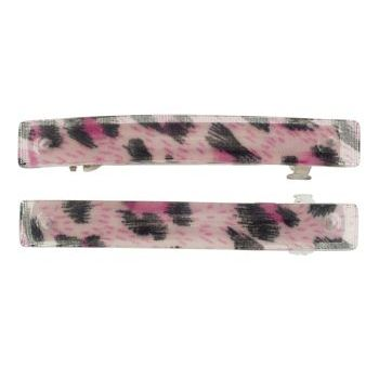 HB HairJewels - Small Leopard Pattern Barrettes - Pink (2)