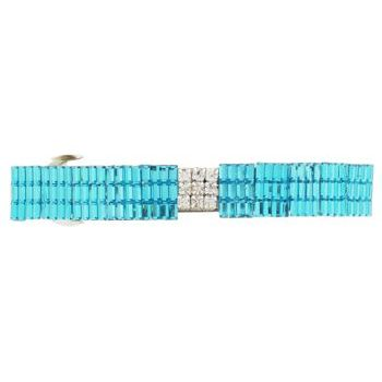 HB HairJewels - Lucy Collection - Rock Crystal Barrette - Aqua (1)