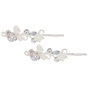 Karen Marie - Enamel Glass Crystal Vine Bobby Pins - White/Silver (Set of 2)