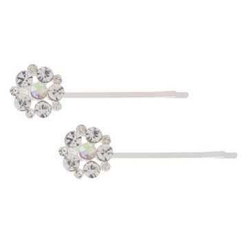 Karen Marie - Crystal Snowflake Bobby Pins - White/Silver (Set of 2)