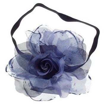 SOHO BEAT - Evening Romance - Sparkling Rose Fascinator Headband - Midnight Blue