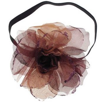 SOHO BEAT - Evening Romance - Sparkling Rose Fascinator Headband - Chestnut (1)