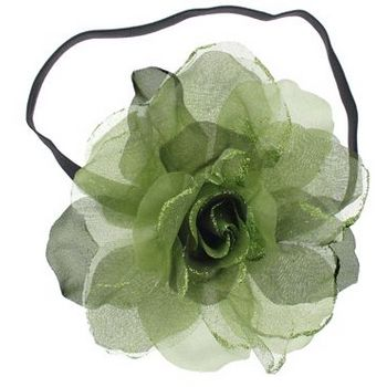SOHO BEAT - Evening Romance - Sparkling Rose Fascinator Headband - Sage (1)