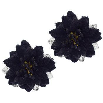 SOHO BEAT - Spanish Soiree - Stellate Flower Clip - Jet (Set of 2)
