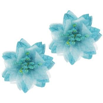 SOHO BEAT - Spanish Soiree - Stellate Flower Clip - Aqua (Set of 2)