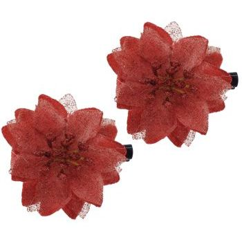 SOHO BEAT - Spanish Soiree - Stellate Flower Clip - Garnet (Set of 2)
