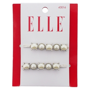 Elle & Elle Girl - Pearl & Silver Bobby w/Crystals (Set of 2)