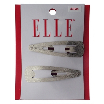 Elle & Elle Girl - Textured Metal Large Sleeper Clips - Silver (Set of 2)