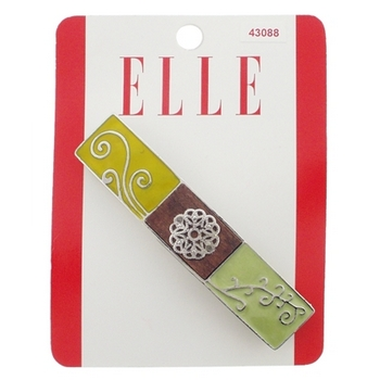 Elle & Elle Girl - Enamel & Wood Barrette - Shades of Green