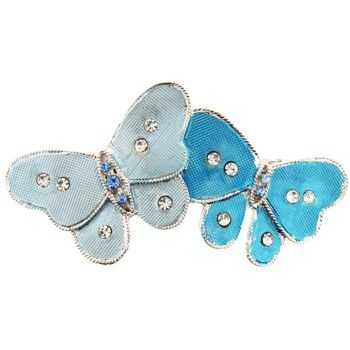 HB HairJewels - Michelle Collection - Double Butterfly Barrette - Blue