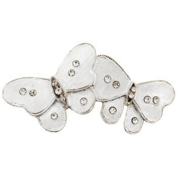 HB HairJewels - Michelle Collection - Double Butterfly Barrette - Silver