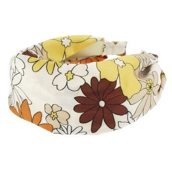 Karen Marie - Mock Satin Headband - Cream With Daisies (1)