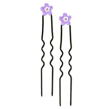 Karen Marie - Austrian Crystal Flower French Hairpins - Amethyst w/Black (2)