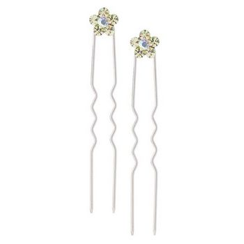 Karen Marie - Austrian Crystal Flower French Hairpins - Citrine w/Silver (2)