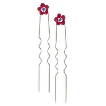 Karen Marie - Austrian Crystal Flower French Hairpins - Red w/Silver (2)