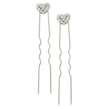 Karen Marie - Austrian Crystal Heart French Hairpins - White w/Silver (2)