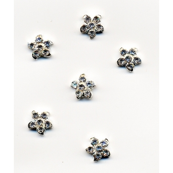 HB HairJewels - Austrian Crystal Flower Magnets- White (set of 6)